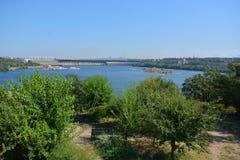 Paisaje Visión desde la isla Khortytsya Fotografía de archivo