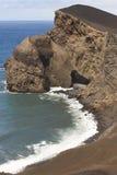 Paisaje volcánico de la costa costa de Azores en la isla de Faial DOS Capelinhos de Ponta Foto de archivo