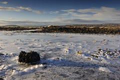 Paisaje volcánico en invierno Imágenes de archivo libres de regalías