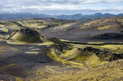 Paisaje volcánico en Lakagigar, cráteres de Laki, Islandia Fotografía de archivo libre de regalías