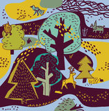 Paisaje y animales de la naturaleza del bosque de la primavera Imagen de archivo