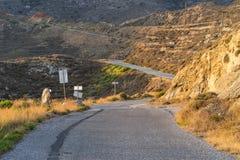 Paisaje y camino de la costa de Peloponeso Imagenes de archivo