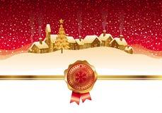 Paisaje y ciudad de la noche del invierno Imagen de archivo libre de regalías