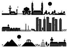 Paisaje y edificio de la silueta Imagen de archivo libre de regalías