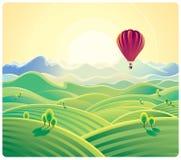 Paisaje y globo del verano de la montaña libre illustration