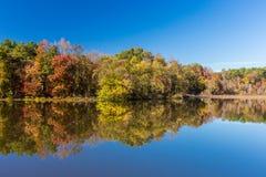 Paisaje y lago de la caída de Arkansas en parque de estado pequeno de Jean Imagenes de archivo