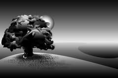 Paisaje y luna imagen de archivo libre de regalías