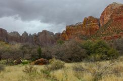 Paisaje y montañas rojas en Zion National Park-Utah foto de archivo
