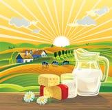 Paisaje y productos lácteos Foto de archivo libre de regalías