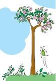 Paisaje y un pequeño insecto alegre Imagen de archivo libre de regalías
