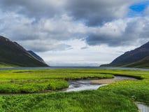 Paisaje y vista de un fiordo en Islandia septentrional fotografía de archivo