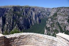 Paisaje Zagoria de la garganta de Vikos del punto de vista Fotografía de archivo
