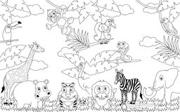 Paisajes africanos que colorean [2] stock de ilustración