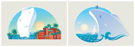 Paisajes coloridos en el centro turístico del mar Foto de archivo libre de regalías