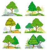 Paisajes con conífero y árboles de hojas caducas, hierba o rocas Sistema del vector libre illustration