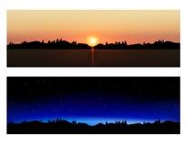 Paisajes de la tarde y de la noche del vector stock de ilustración