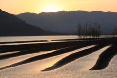 Paisajes de las puestas del sol Fotografía de archivo libre de regalías