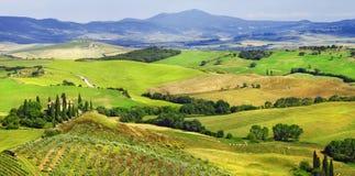 paisajes de Toscana, d'Orcia val Fotos de archivo libres de regalías