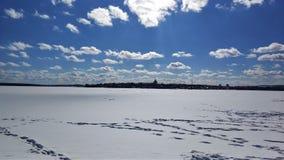 Paisajes del invierno en el bosque de Urales en un día soleado imagen de archivo