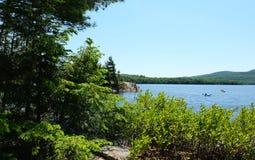 Paisajes del lago, Estrie, Canadá Imagen de archivo