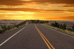 Paisajes traseros del camino y del desierto del cerdo en la puesta del sol, monumento nacional de Escalante, Utah imagen de archivo libre de regalías