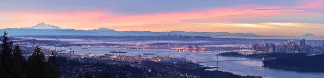 Paisajes urbanos panorámicos de Vancouver Foto de archivo