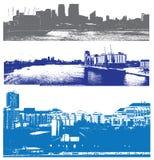 Paisajes urbanos urbanos de Londres del estilo Imágenes de archivo libres de regalías