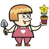 Paisajista de la historieta con una planta Imagen de archivo