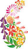 Paisley. A group of colourful flowers stock illustration