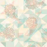 Paisley abstract pattern on geometric background Stock Image