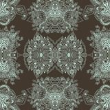 Paisley background. Abstract seamless geometric paisley pattern. Traditional oriental  lace  ornament. Minty outlines on taupe background. Yoga print. Textile Stock Image