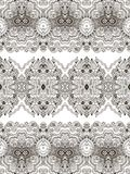Paisley background. Abstract seamless geometric paisley pattern. Traditional oriental lace ornament. Taupe outlines on ecru background. Yoga print. Textile Royalty Free Stock Image