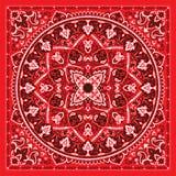 Paisley Bandana print. Vector ornament paisley Bandana Print, silk neck scarf or kerchief square pattern design style for print on fabric stock illustration