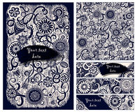 Paisley batik background. Ethnic doodle cards. Paisley batik background. Set of abstract ethnic african hand drawn vector cards.  Series of image Template frame Royalty Free Stock Photo
