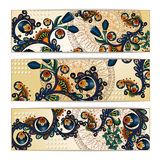 Paisley batik background. Ethnic tribal cards. Paisley batik background. Set of three abstract ethnic african hand drawn vector cards.  Series of image Template Royalty Free Stock Images