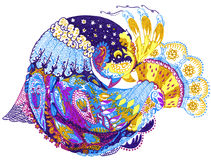 Paisley bird hand drawing illustration Stock Photography