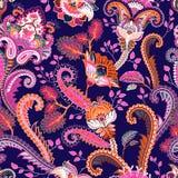 Paisley blom- sömlös modell indisk prydnad Dekorativa blommor och Paisley för vektor Etnisk stil Design för vektor illustrationer