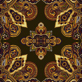 Paisley boho pattern. Abstract circular geometric paisley pattern. Traditional oriental mandala ornament. Amber golden on green background. Textile design Stock Photography