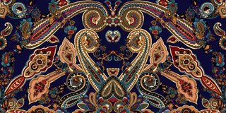 Paisley boho pattern. Abstract geometric paisley pattern. Traditional oriental ornament. Vibrant colors on indigo blue background. Textile design Stock Photo