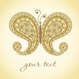 Paisley Butterfly. Hand-Drawn Ornate Doodle Royalty Free Stock Photo