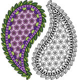 Paisley - Colorful or Black and White. To add to your designs Royalty Free Stock Photography