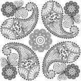 Paisley doodles,black and white mandala,coloring pages,paisley for embroidery Royalty Free Stock Image