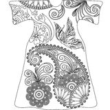 Paisley doodles,black and white mandala Stock Image