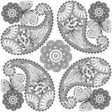 Paisley doodles, czarny i biały mandala, barwi strony, Paisley dla broderii Obraz Royalty Free