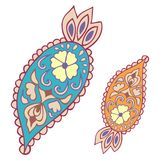 Paisley elements (oriental cucumber). Abstract Tribal vintage ethnic paisley ornament. Stock Photos