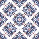 Blue and orange seamless pattern with flowers. Paisley elements. Ornament. Traditional, Ethnic, Turkish, Indian motifs. Great for fabric and textile, wallpaper Royalty Free Stock Photo