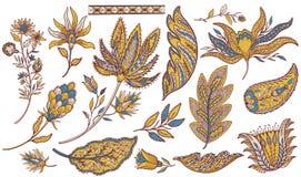 Paisley ethnic set. Indian element decoration. Oriental east hand drawn collection. Vintage folk style. Vector illustration stock illustration