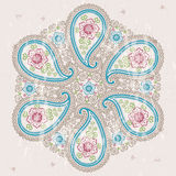 Paisley fabric round ornamental frame.Oriental motif Royalty Free Stock Photo
