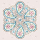 Paisley fabric round ornamental frame.Oriental motif Royalty Free Stock Photo