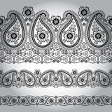 Paisley fabric seamless border lace.Oriental motif Royalty Free Stock Image
